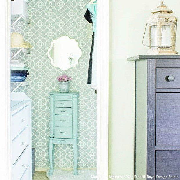 Painted Closet Makeover - Stenciled Wallpaper Patterns - Royal Design Studio