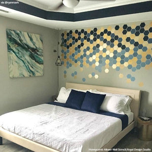 Modern Ombre Honeycomb Falling Shapes Patchwork Pattern Wall Stencils - Royal Design Studio