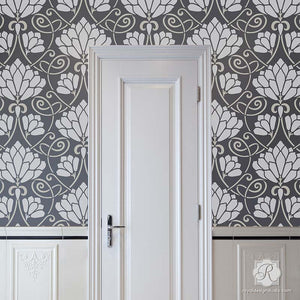 Silver and Gray Modern Metallic Flower Wallpaper Stencils - Lotus Paradise Floral Wall Stencils - Royal Design Studio