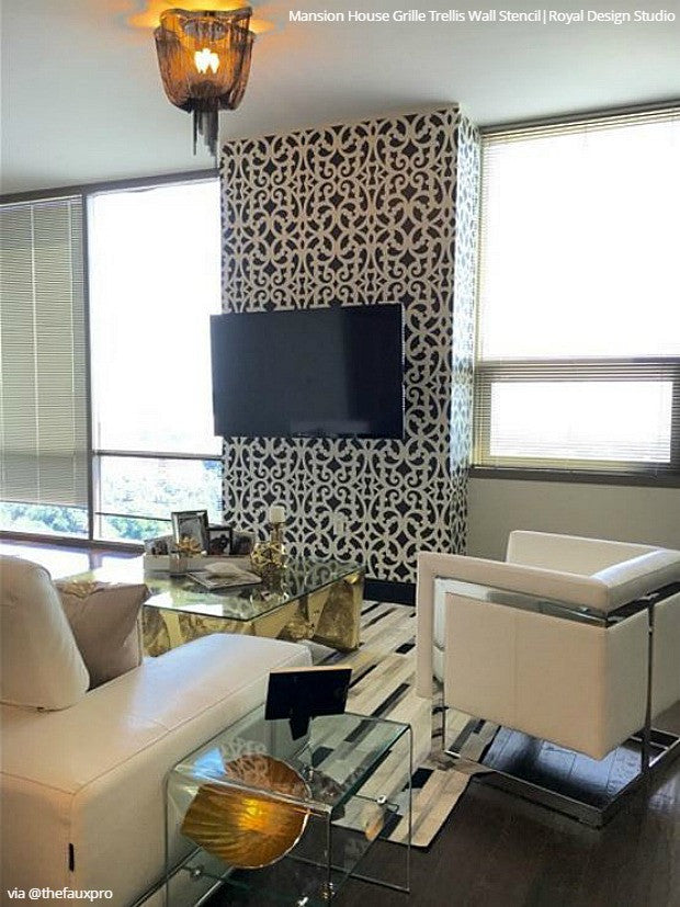 ... Room Makoever Idea   Metallic Painted And Stenciled Dining Room Accent  Wall   Mansion House Grille ...
