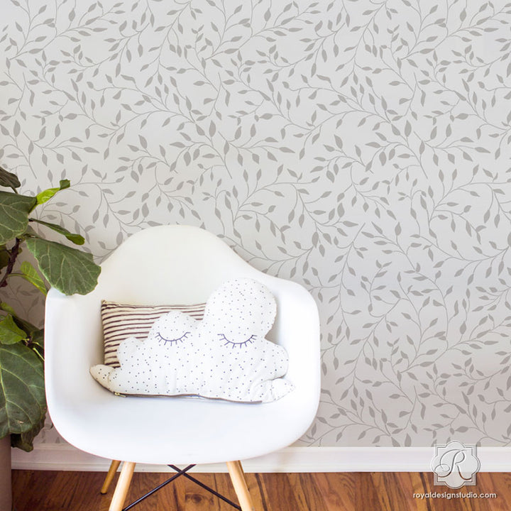 Contemporary Room Makeover and Painting Walls with Wisteria Leaves Wall Stencils - Royal Design Studio