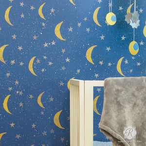Moon and Stars Designs Painted onto Nursery Decor - Night Sky Wall Stencils - Royal Design Studio