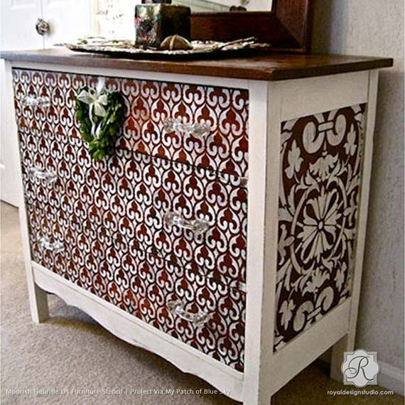 Decorating Wood Furniture Pieces with DIY Moroccan Pattern - Moorish Fleur De Lis Allover Furniture Stencil - Royal Design Studio