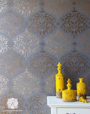 Elegant Metallic Painted Walls with Exotic Moroccan Designs - Royal Design Studio Stencils