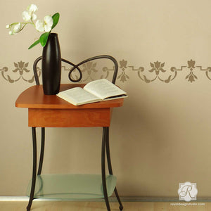 Moroccan Flower Border Stencils for Painting Walls - Royal Design Studio