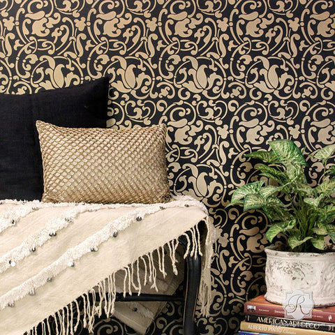 Black And Gold Modern Moroccan Design Wallpaper Wall Stencils   Royal Design  Studio