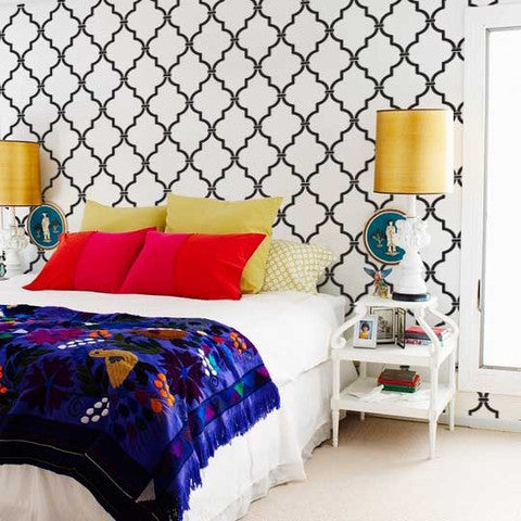Designer Wallpaper Look with Moroccan Designs - Large Moroccan Trellis Wall Stencils for DIY Decorating - Royal Design Studio