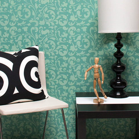 painting accents walls with moroccan allover swirl wall stencils royal design stuido - Design Stencils For Walls