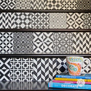 stair risers stencil diy tiles