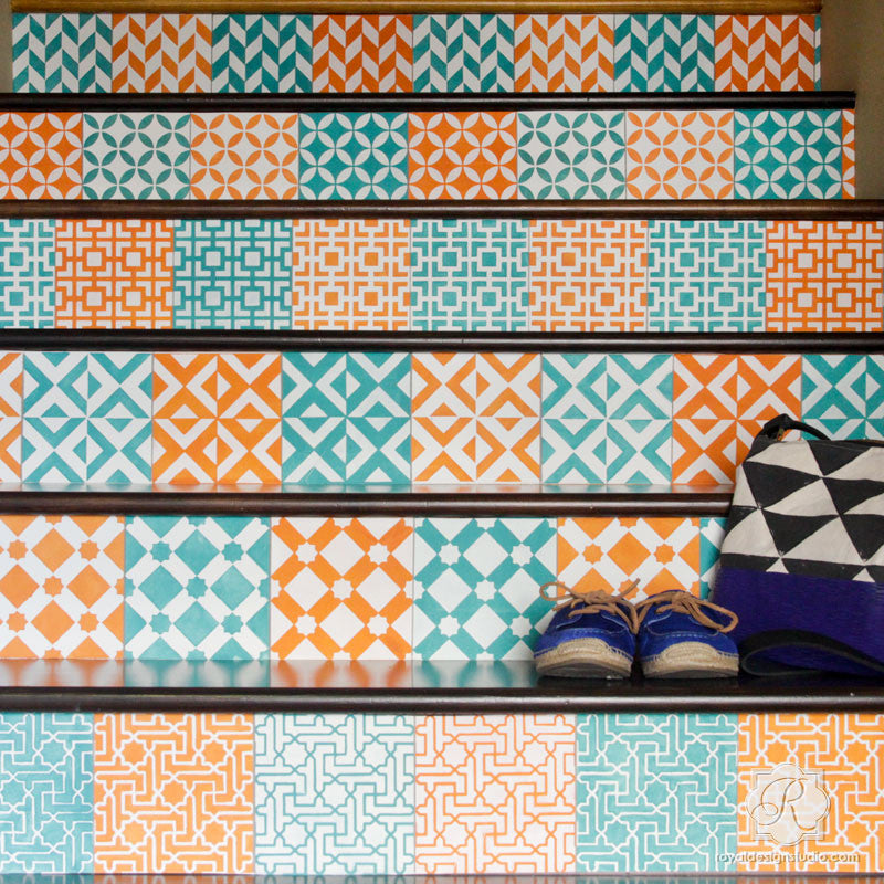 Colorful Moroccan Wall Decor and Tile Stencils - Royal Design Studio