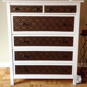DIY Decor and Painted Dressers with Exotic Patterns - Casbah Trellis Moroccan Furniture Stencils for Painting - Royal Design Studio