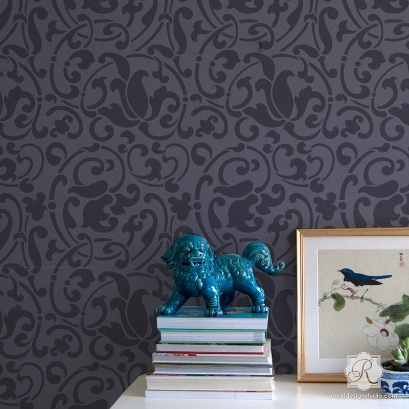 Large Exotic Patterns Painted on Accent Wall - Jameela Vine Moroccan Wall Stencils - Royal Design Studio