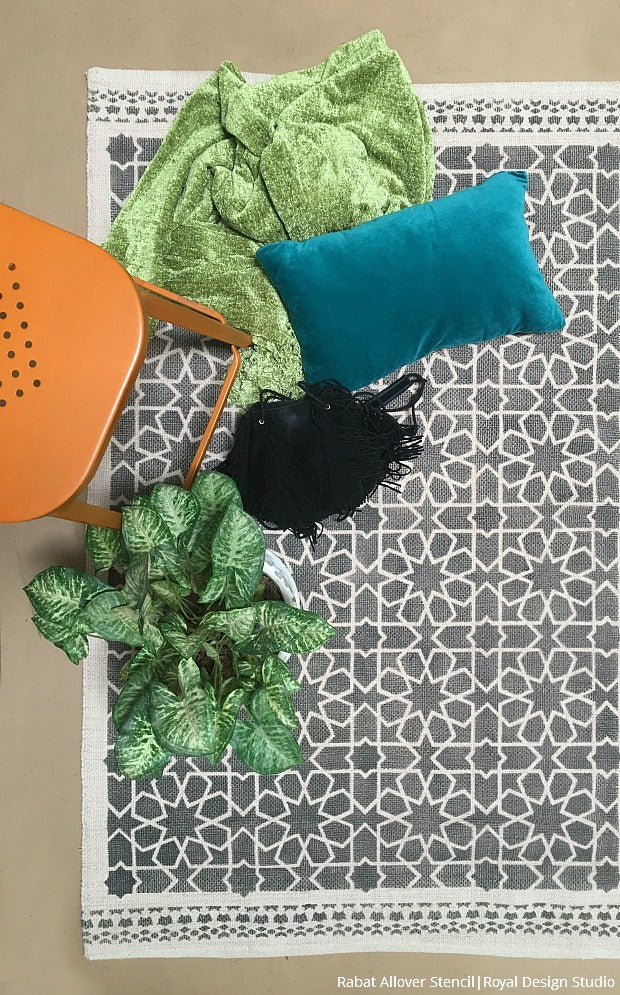 Painting Fabric Area Rug with DIY Stencils with Moroccan Design - Royal Design Studio