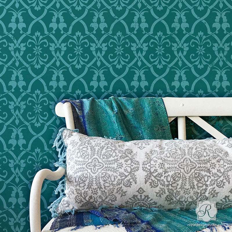 Boho Chic Glam Accent Wall Painting Idea Large Trellis Wall Stencils - Royal Design Studio