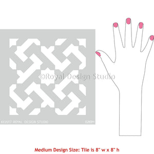 Painting Kitchen or Bathroom Floor with Modern Geometric Patterns - Royal Design Studio Tile Stencils