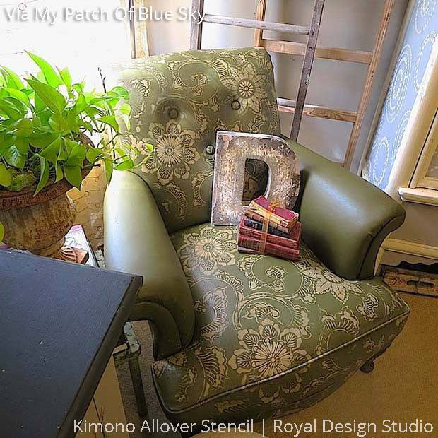Chalk Paint Painted Chair and Upholstery DIY Project using Asian Flower Stencils - Royal Design Studio