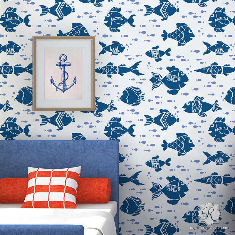 Nautical Fish Wall Stencils And Kids Decor Ideas   Royal Design Studio