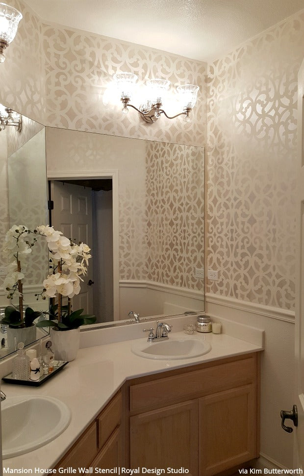 Mansion House Grille Trellis Wall Stencil