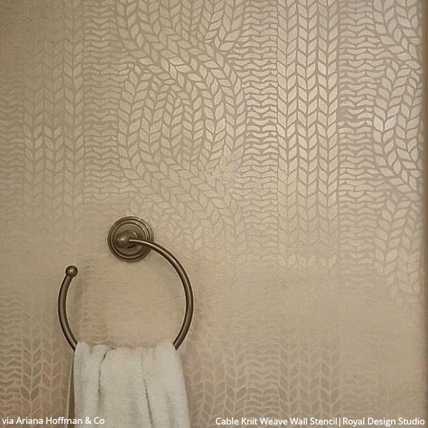 Chunky Cable Knit Wall Stencil