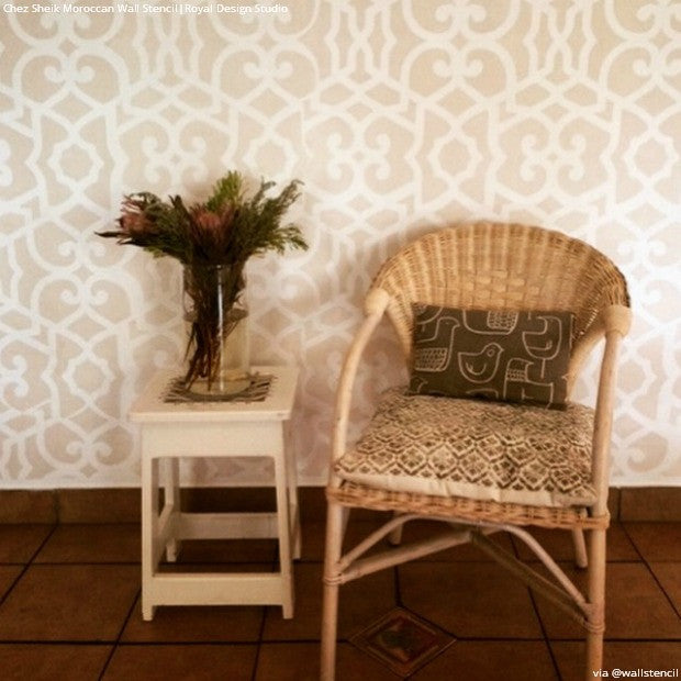 Neutral Rustic Tribal Home Style - Chez Sheik Moroccan Wall Stencils - Royal Design Studio