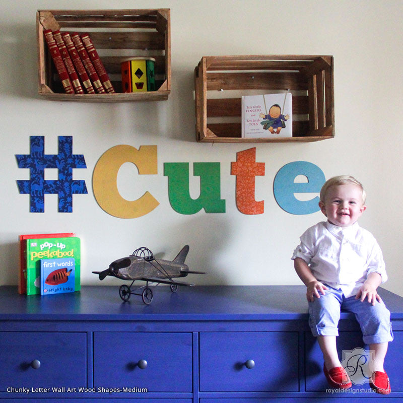 Painted and Stenciled Large Letters for Wall Mural in Cute Nursery Decor - Royal Design Studio