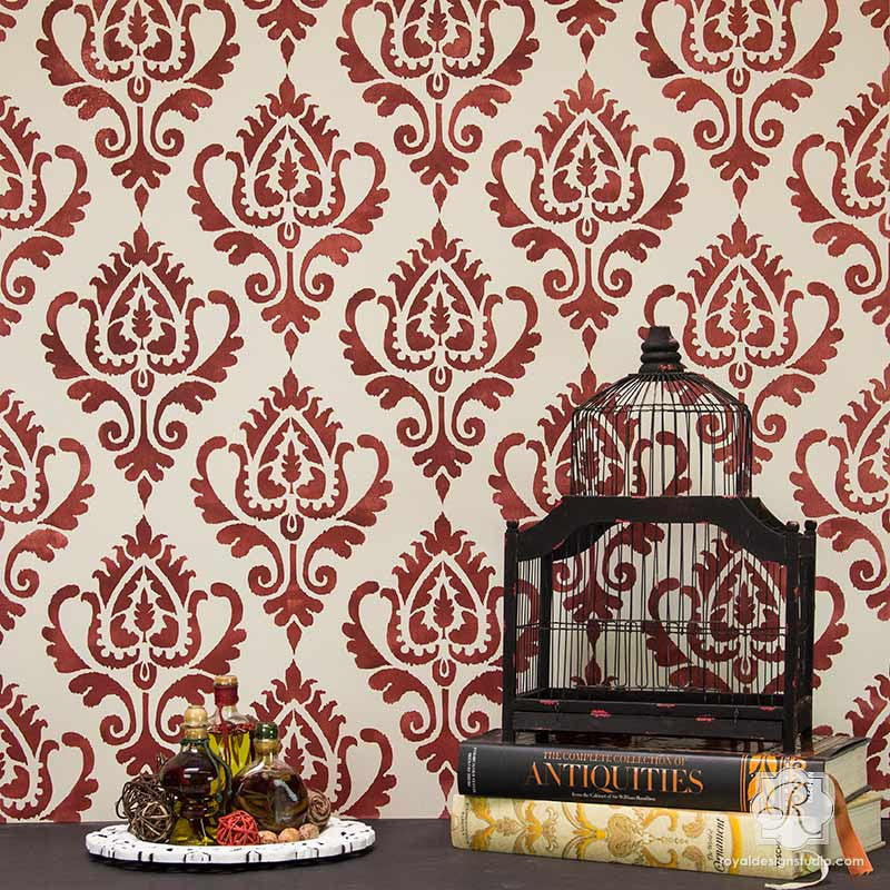Ethnic Ikat Damask Stencil Pattern for Walls Furniture