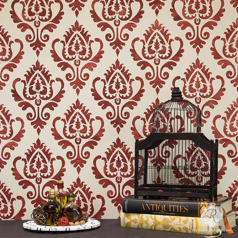 Elegant Ikat Stencil Pattern For Painting Walls And Furniture   Royal Design Studio
