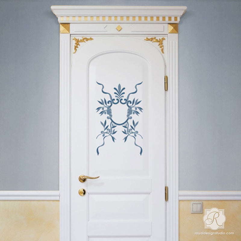 Painted Door with Italian Stencils - DIY Classic Wall Stencils - Royal Design Studio