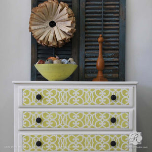 Chez Sheik Moroccan Stenciled Dresser Drawers - Royal Design Studio DIY Stencil Projects and Furniture Fix Ups