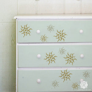Painted Dresser Project with Classic European Stars Stencils - Royal Design Studio