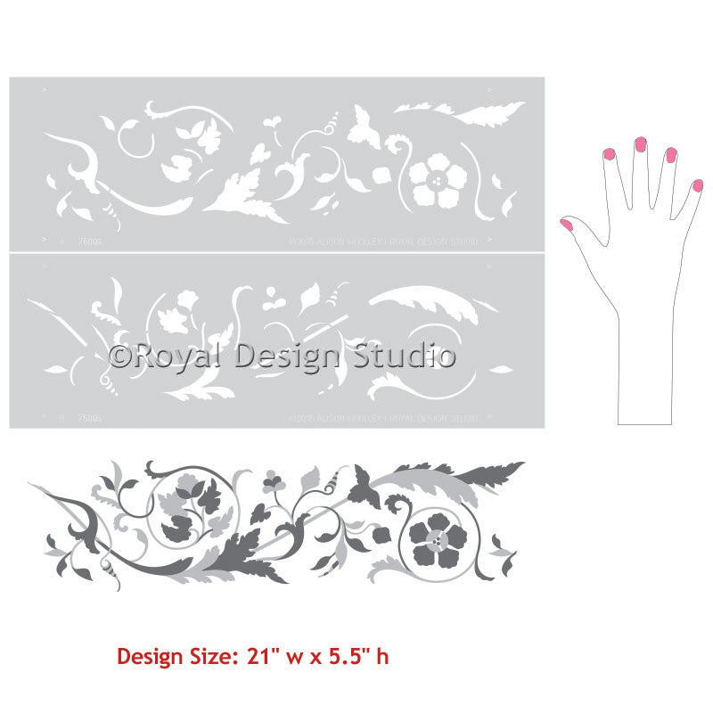Floral and vine border stencils for traditional European wall decor - Royal Design Studio