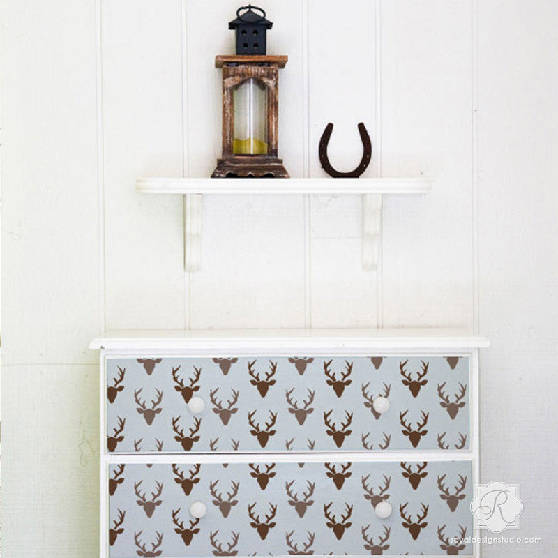 Deer Antlers and Deer Heads - Trendy Furniture Stencils from Bonnie Christine for Royal Design Studio