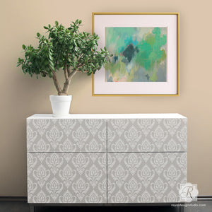 Paint Table Tops and Dressers with Trendy Ikat Stencil Patterns from Royal Design Studio