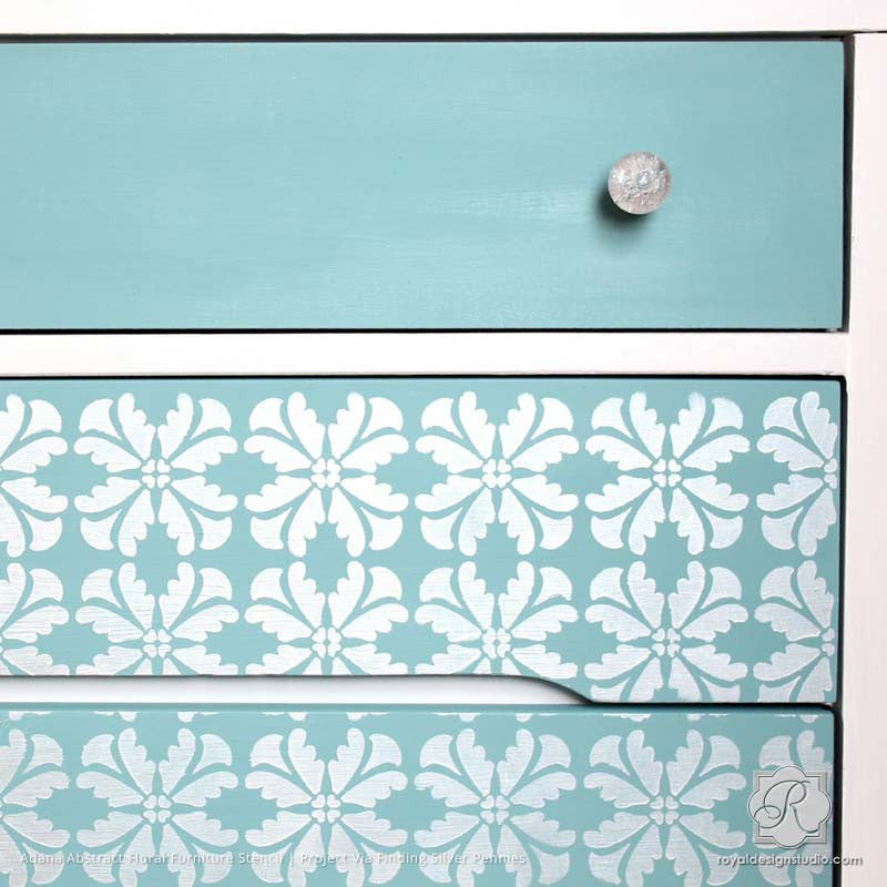 Metallic Silver And Blue Dresser With Painted Pattern   Adana Abstract  Floral Furniture Stencils   Royal ...