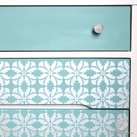 pattern furniture. Metallic Silver And Blue Dresser With Painted Pattern - Adana Abstract Floral Furniture Stencils Royal G