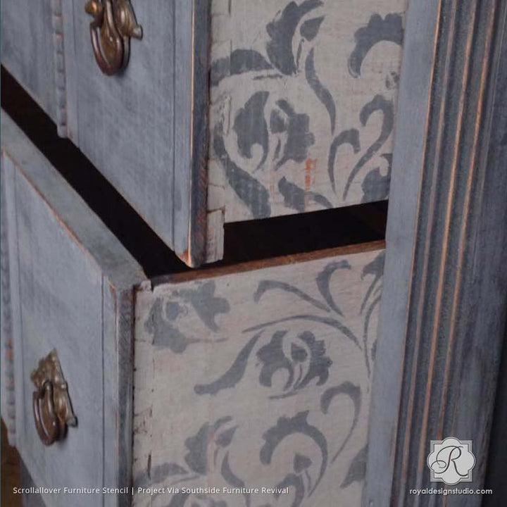 Vintage Shabby Chic Furniture Makeover with Leaf and Vine Furniture Stencils - Royal Design Studio