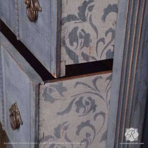 Superieur Vintage Shabby Chic Furniture Makeover With Leaf And Vine Furniture Stencils    Royal Design Studio