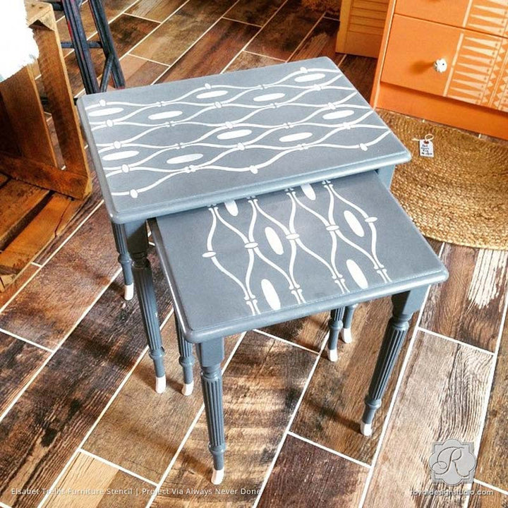 Stenciled Tribal Pattern on Table Tops - Elsabet Trellis Furniture Stencils - Royal Design Studio