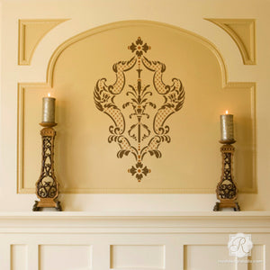 Large Damask Wall Stencils to Decorate Mantle, Wall, or Room with Italian Design - Royal Design Studio