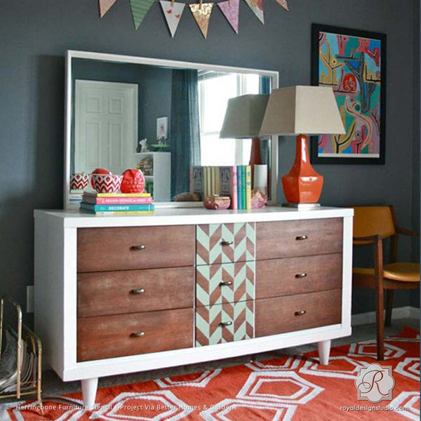 Top 10 Stencil And Painted Rug Ideas For Wood Floors: Herringbone Pattern Furniture Stencil