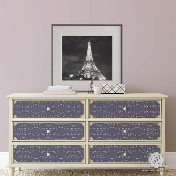 DIY Painted Furniture Project using Girly and Feminine Stencils - Gigi Scroll Modern Furniture Stencils - Royal Design Studio