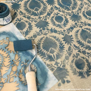 Chalk Paint Project Painted Suzani Linen Fabric Craft Stencils - Royal Design Studio