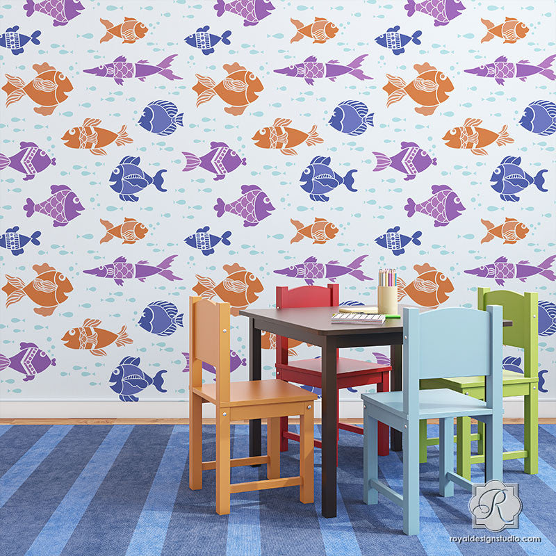 DIY Painted Fish Wall Stencils for Cute Kids Room Decor - Royal Design Studio