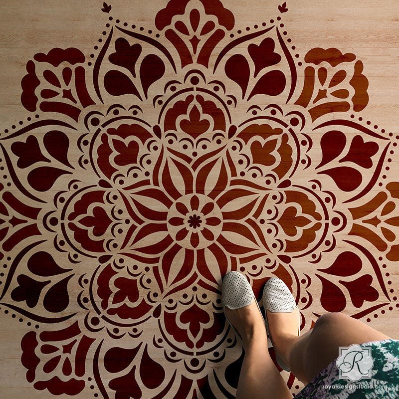 Custom Wood Floor Design with Painted Mandala Art - Royal Design Studio Stencils for Decorating - XL