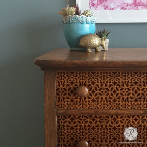Reclaimed Wood Furniture Trellis Grille Design - Small Craft Stencils - Royal Design Studio