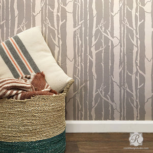 Contemporary Wall Art Stencils with Trees and Branches Wallpaper Pattern - Royal Design Studio