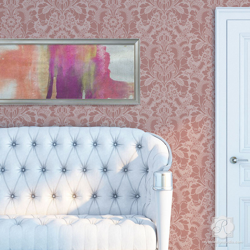 Classic European Home Decor and DIY Wallpaper Stencils - Lisabetta Damask Wall Stencils - Royal Design Studio