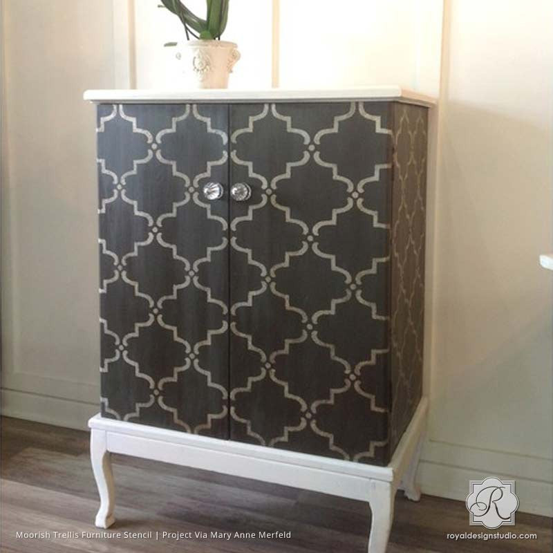 Painting Wood Furniture with Moroccan Trellis Designs - Moorish Trellis Furniture Stencils - Royal Design Studio