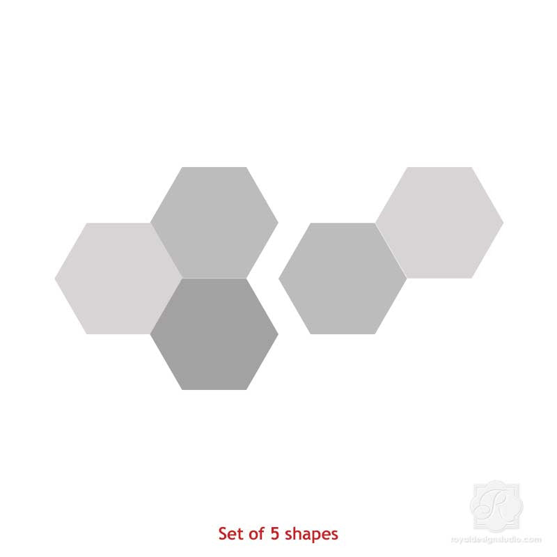 Mix and Match Stencil Designs on Painted Hexagon Wall Art Wood Shapes - Royal Design Studio