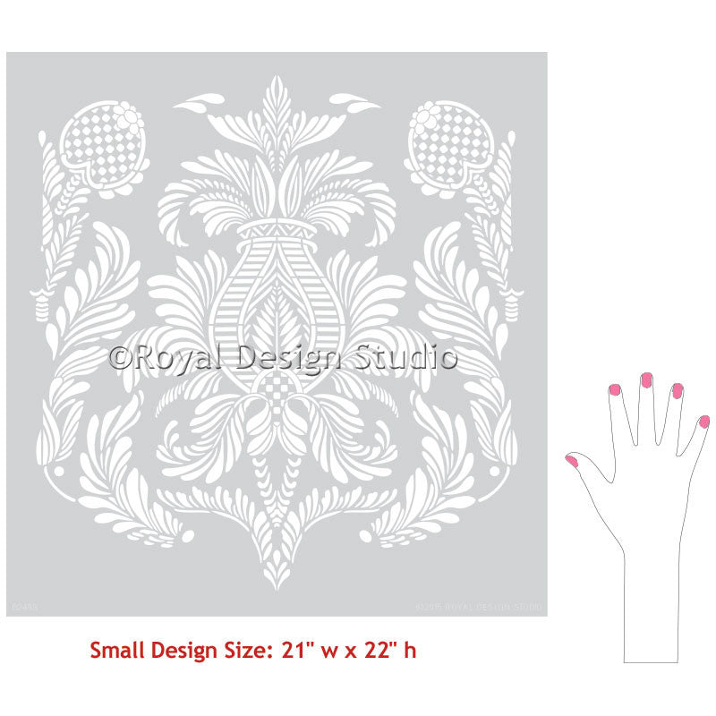 Decorating Your Bedroom or Living Room with Elegant Victorian Wallpaper Designs - Isle of Palms Damask Wall Stencils - Royal Design Studio